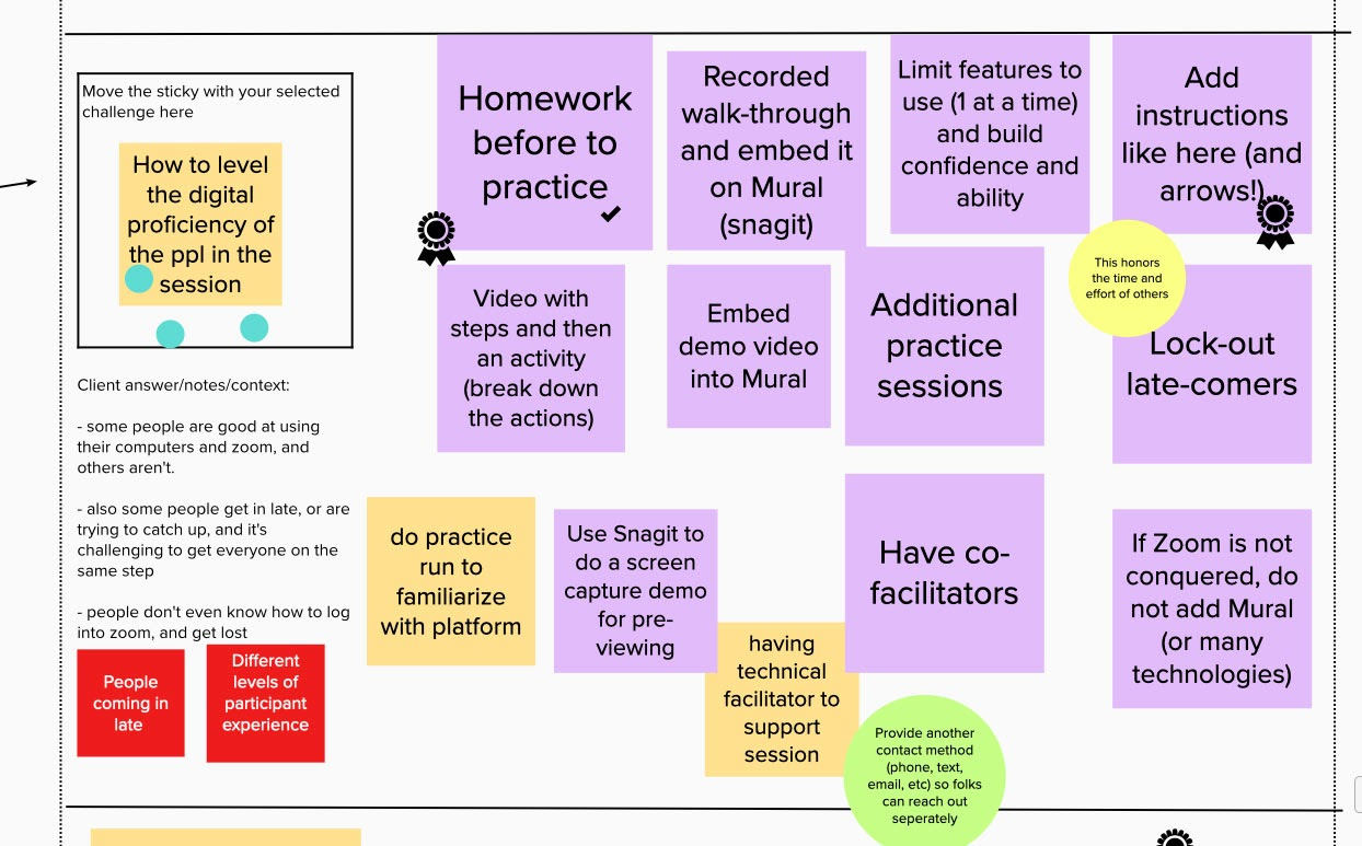 sticky notes with solutions for how to level the digital proficiency of the people in the session